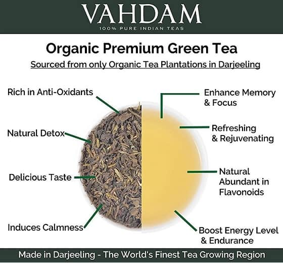 VAHDAM Organic Premium Green Tea Benefits