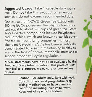 Now EGCG Green Tea Extract Dosage