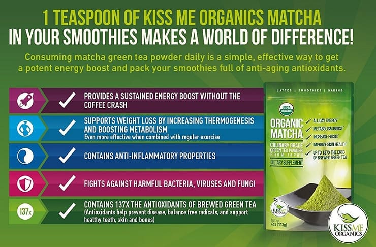 Kiss Me Organics Matcha Benefits