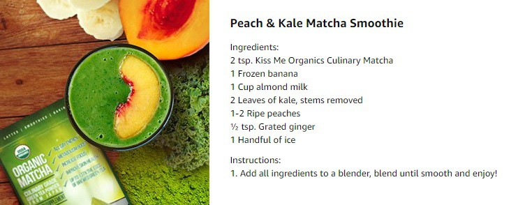 Peach & Kale Matcha Smoothie - KissMe Organics